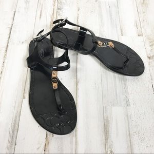 Coach Piccadilly Black Thong Flip Flop Sandals 6